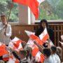 Uczniowie z Pińczowa wspólnie odśpiewali hymn by uczcić odzyskanie niepodległości
